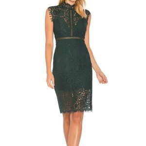 NWT Bardot Lace Sheath Forest Green Midi Dress
